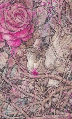 Nightingale and rose. by Vasilisa Koverzneva, via Behance.
