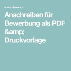 Anschreiben für Bewerbung als PDF & Druckvorlage