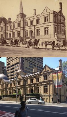 The old Registrar General's building at the corner of Elizabeth Street and St James Road in 1870 and It is now part of the NSW Supreme Court Complex. From a line of hansom cabs to a single handsome cab. [State Library of NSW>Phil Harvey. By Phil Harvey] Hunter Street, Phil Harvey, Sydney City, Elizabeth Street, Historical Pictures, Sydney Australia, Supreme Court, Geography, Old Photos