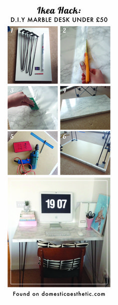 Easy DIY ikea hack marble desk for under £50 I think this would also work for a bedside table