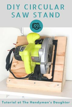 Keep your circular saw stored upright and ready to go! This circular saw storage rack is quick and easy to make with scrap plywood. Get the tutorial at The Handyman's Daughter!   woodworking project   workshop storage   garage storage   tool storage   circular saw ideas   scrap wood project