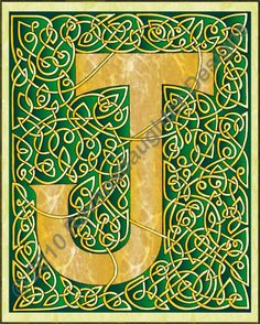 Green & gold Celtic knotted letter J for Jan.