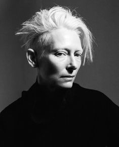 Tilda Swinton, Short Punk Hair, Tv Movie, Gray Aesthetic, Portraits, Portrait Inspiration, Beautiful Actresses, Comic, Role Models