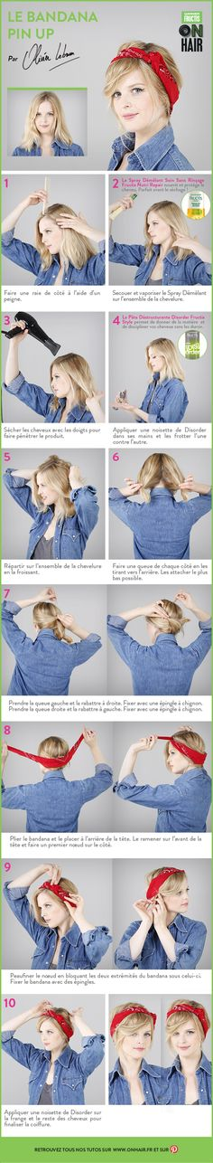 Le bandana pin up #OnHair #Tuto #Rétro #CheveuxCourts #NutriRepair #Disorder #Garnier #Fructis