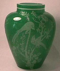 Steuben Acid Cutback Green Jade Bird Vase