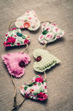 Shabby chic heart garland hand-made