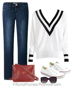 """""""Nantucket"""" by fiftynotfrumpy ❤ liked on Polyvore featuring Uniqlo, Converse and Merona"""