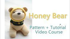 [Demo]-The sock honey bear pattern+tutorial video (in English) / 廣告- 蜂蜜熊... Sock Dolls, Honey Bear, Sock Animals, My Socks, Hand Sewing, Teddy Bear, English, Pattern, Etsy