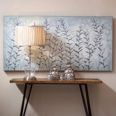 http://www.nuryba.com/ Cuadro Moderno Decorativo Plata Hojas I, lienzo pintura al óleo