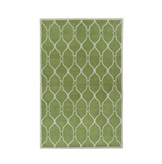 green graphic rug