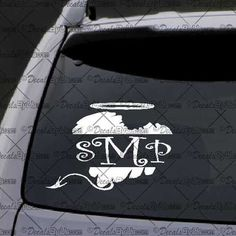 Monogram Letters Decal - Angel Devil Heart  – Decal - Car Window Decal - Sticker – White