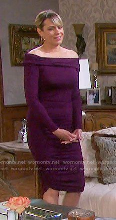 Nicole's purple off-shoulder dress on Days of our Lives.  Outfit Details: https://wornontv.net/74969/ #DaysofourLives