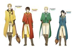 Anime style Hogwarts Quidditch robes, showing left to right: Cedric Diggory playing for Hufflepuff Harry Potter playing for Gryffindor, Draco Malfoy plating for Slytherin, Cho Chang playing for Ravenclaw. Harry Potter Anime, Harry Potter World, Harry Potter Casas, Memes Do Harry Potter, Estilo Harry Potter, Harry Potter Quidditch, Mundo Harry Potter, Harry Potter Cosplay, Images Harry Potter