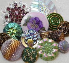 Vintage Metal Vtg Glass Rhinestone China Hand ptd SgndPansy Button | eBay