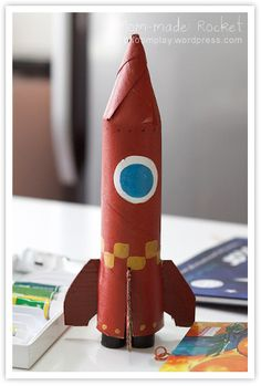 Summer Camp Craft cardboard tube craft rocket craft for Bean up Cardboard Rocket, Cardboard Tube Crafts, Toilet Paper Roll Crafts, Craft Activities For Kids, Projects For Kids, Diy For Kids, Crafts For Kids, Rocket Craft, Diy Rocket