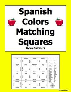 Spanish Colors and Patterns Matching Squares Puzzle - Los Colores by Sue Summers - Students love these cooperative learning, hands on vocabulary puzzles! This puzzle contains 23 different words, plus a vocabulary list. Vocabulary List, Spanish Vocabulary, Spanish Colors, Spanish English, Cooperative Learning, Pattern Matching, Different Words, Languages, Puzzles