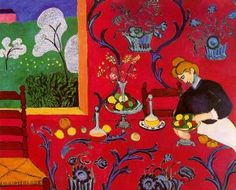 """Fauvism Henri-Matisse-the-dessert-harmony-in-red Fauvism was an art style that lasted only four years, beginning in 1905. The leader of this movement was Henri Matisse. The word Fauvism is French for """"wild beasts"""". It got this name because the paintings had bright and unusual colours. The subjects in the paintings were shown in a simple way, and the colours and patterns were bright and wild."""
