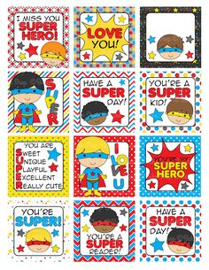 Super Hero Lunch Box Notes Printable - Printable Templates - Mygrafico.com