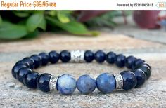 Spiritual Energy - Mens Protection Bracelet, Men's Blue Sodalite, Goldstone Swarovski Crystals Jewelry, Yoga bracelet, Mens Beaded Barcelet by Braceletshomme