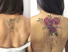 Tattoo Back Floral Cover Up 66 Ideas For 2019 Back Tattoo Women Upper, Cover Up Tattoos For Women, Best Cover Up Tattoos, Tattoo Cover, Upper Back Tattoos, Best Tattoos For Women, Trendy Tattoos, Unique Tattoos, Beautiful Tattoos