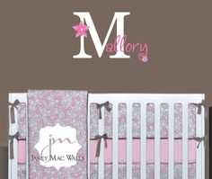 Flower Monogram with Name Wall Decal Set - Girls Bedroom Nursery Wall Decor Sticker - Flowers - CM131C