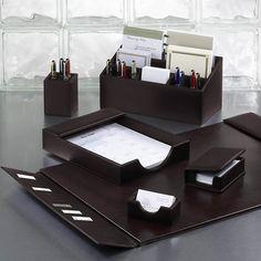 Bomber Jacket Desk Set, Six Pieces - Leather Desk Accessories ...