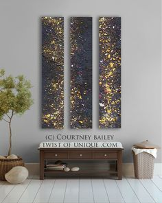Night sky Abstract painting - Stars 4 panel CUSTOM AcryliCrete Wall Art via Etsy.
