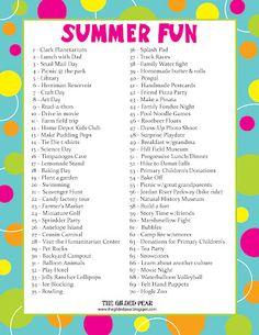 Summer Fun ideas. LOVE this list.
