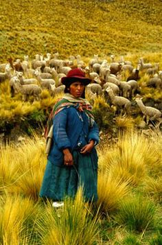 A Peruvian Woman with her llamas, Malkini, Lake Titicaca, Peru  Photo: Mylene d'Auriol Stoessel.