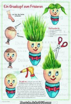 Basteln – Graskopf for hairdressing - Crafts for Kids Fall Arts And Crafts, Easy Fall Crafts, Fall Crafts For Kids, Diy For Kids, Fun Crafts, Recycled Crafts, Handmade Crafts, Infant Activities, Activities For Kids