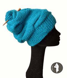 Stylish Cabble Knit Cowl Hat Super Bulky Baby Alpaca
