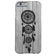 Hipster vintage black dreamcatcher on gray wood Barely There Iphone 6 Case