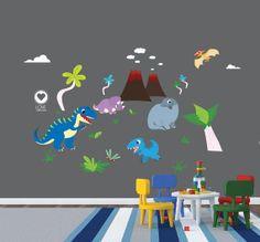 Dinosaur wall decals for nursery - T-REX- Volcano,...Removable & Reusable Fabric vinyl- nursery decals for boys