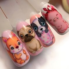 43 Rustic Cartoon Nail Art Ideas For All Season Pig Nail Art, Pig Nails, Animal Nail Art, Cute Nail Art, Cartoon Nail Designs, Animal Nail Designs, Cute Nail Designs, Art Designs, Nail Noel