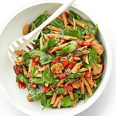Chicken, Spinach, and Pasta Salad ;  A vibrant mix of spinach, tomatoes, mushrooms, chicken and penne is topped with a light balsamic dressing.