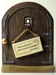 Fairy Door with Reversible Miniature Sign