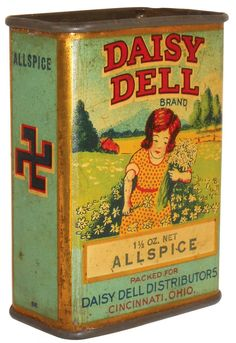 Advertising Spice Tin, Daisy Dell Brand Allspice, with the original swastika. Swastikas were a good symbol at one time before the Nazi's tainted it. Spice Tins, Old Spice, Vintage Tins, Vintage Antiques, Vintage Kitchen, Tin Can Alley, Art Nouveau, Spice Containers, Coffee Tin
