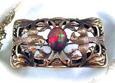 Rare MAX NEIGER BROOCH Max Neiger Brothers Gablonz Czech Peking Glass Phoenix Bird Brooch Pin