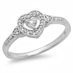 DazzlingRock Collection 0.15 Carat (ctw) Sterling Silver Round White Diamond Ladies Bridal Heart Shaped Promise Ring