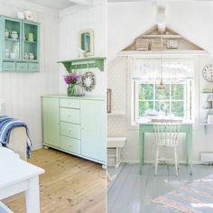 LYSE FARGER: Hele huset er fargesatt i lyse og harmoniske farger. Under skråtaket på loftet har Slettnes innredet et rom til inspirasjon. Her holder hun på med små prosjekter ved det grønne bordet. Sommerstemningen er til å ta og føle på; Lyse vegger, gråmalt gulv og møbler i pastellfarger, akkurat slik Slettnes liker det   LEV LANDLIG