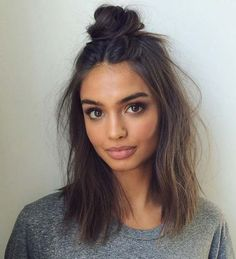 Short Hair Styles You Can Do In 10 Minutes or Less - Lob Messy Top Knot - Easy Step By Step Tutorials For Growing Out Your Hair, For Shoulder Length Hair, For The Undo, The Pixie, For Round Faces, The Bob, For Women That Are White And African American. For Over 50, For Over 40, For Wedding, And With Bangs - https://thegoddess.com/quick-short-hair-styles
