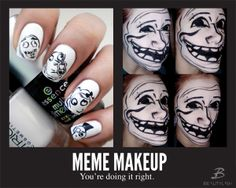 Prrrretty sure I HAVE to try this out.  Meme Nail Art  Dedication level: Boss