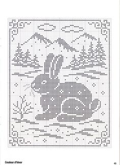 This would work for fillet crochet except for the rabbit's whiskers