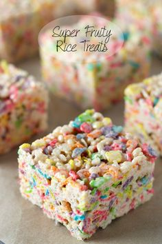 Super Fruity Rice Treats | Rice Krispies Treats via sweetasacookie.com