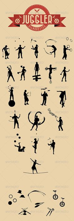 Buy 21 Jugglers Vector Silhouettes by Duke_Ellington on GraphicRiver. Useful for your flyers, banner or graphic design! Each juggler is. Circus Poster, Circus Art, Circus Theme, Lucas 8, Circus Characters, Steampunk Circus, Circo Vintage, Le Clown, Silhouettes