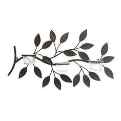 Castiçal Galho de Árvore com Suporte para 3 Velas Marrom de Parede em Ferro - 49x30 cm