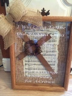 The Old Rugged Cross Hymn 11 x 14 Wooden Religious Easter Shadow Box Gift - Crafts Cute Picture Frames, Picture Frame Crafts, Wooden Shadow Box, Diy Shadow Box, Easter Crafts For Adults, Adult Crafts, Fromm, Sheet Music Crafts, Easter Religious