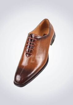 Bolano Mens Exotic Faux Eel Print Oxford Dress Shoe in Cognac and Brown