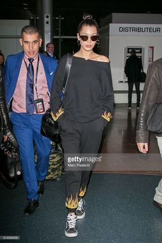 Model Bella Hadid is seen at Charles-de-Gaulle airport on October 27, 2016 in Paris, France.