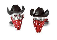 Deakin & Francis Sterling Silver Cowboy Skull Cufflinks